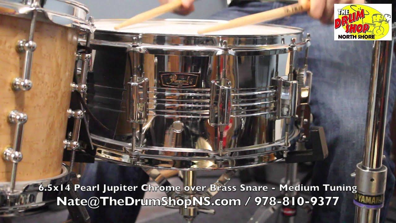 Pearl B4514 Snare Drum : 39 70 39 s pearl jupiter chrome over brass snare the drum shop north shore youtube ~ Vivirlamusica.com Haus und Dekorationen