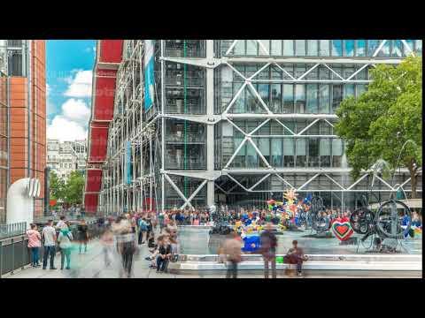 Fountain at Centre Pompidou timelapse, National Modern Art Museum. Paris, France