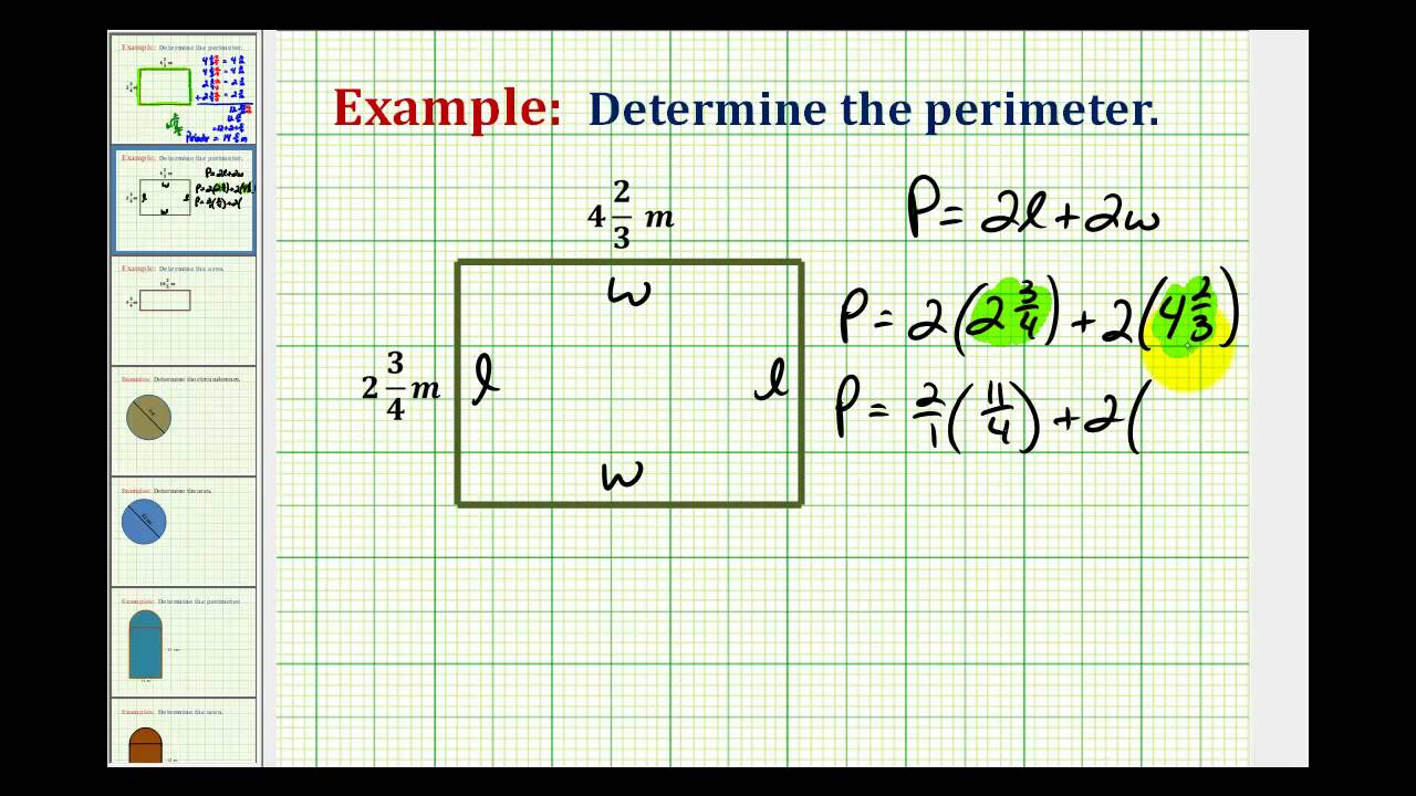 Example: Determine The Perimeter Of A Rectangle Using Mixed Numbers