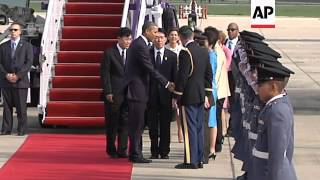 US president arrives for first foreign trip since winning re-election