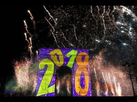 NEW YEAR'S EVE 2018 IN PARIS - FRANCE , FIREWORKS ARC DE TRIOMPHE
