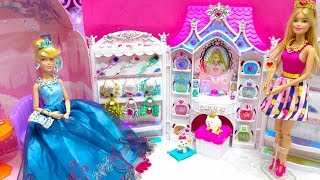 Princess Cinderella Barbie Pretend Play Wedding Shop Wedding Dress Up and Makeup Jewelry Room