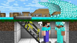 HOW to SURVIVE a NOOB and PRO FROM a DIAMOND TSUNAMI? in Minecraft Noob vs Pro