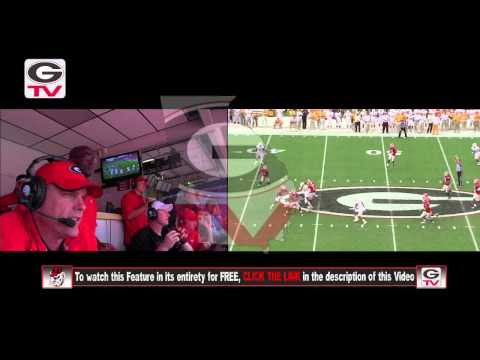 Football: Offensive Cordinator Mike Bobo in the booth: 2012