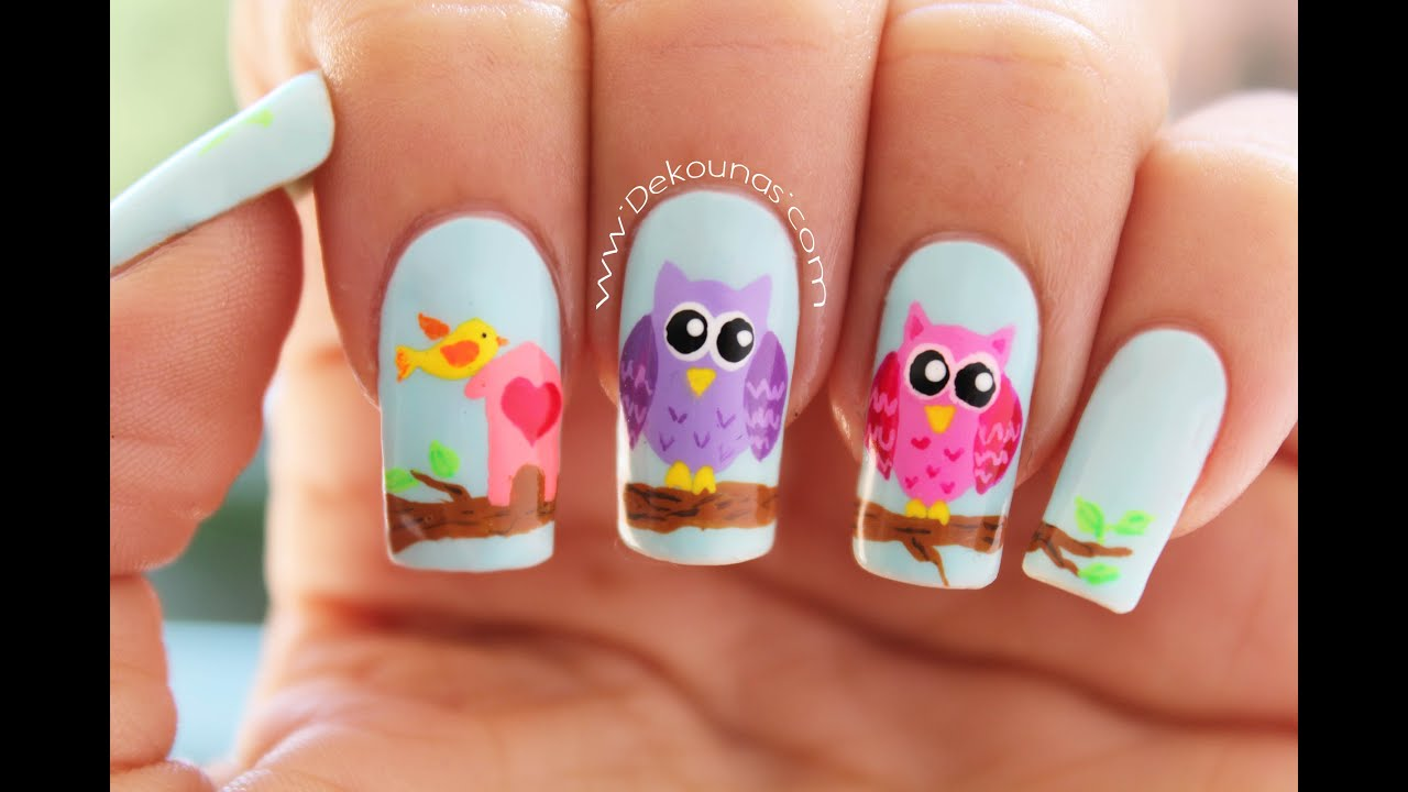 Decoracin de uas buhos  Owl nail art  YouTube