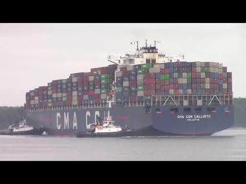 Large Container Ship CMA CGM CALLISTO Inbound into Halifax, NS, Canada