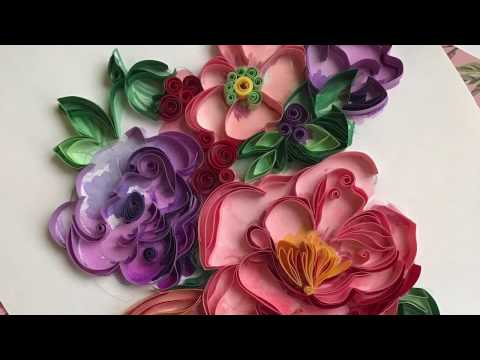 QllArt / Quilling filigree pattern/ Watercolor and quilling flowers