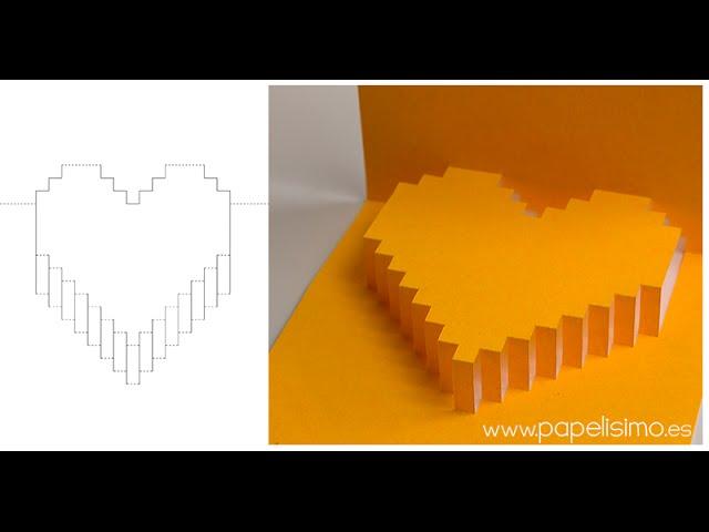 Tarjeta de corazón 3D pop-up (Regalos con manualidades de San Valentín)