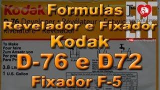 revelador kodak d76 d72 fixador f 5 formulas foto preto e branco