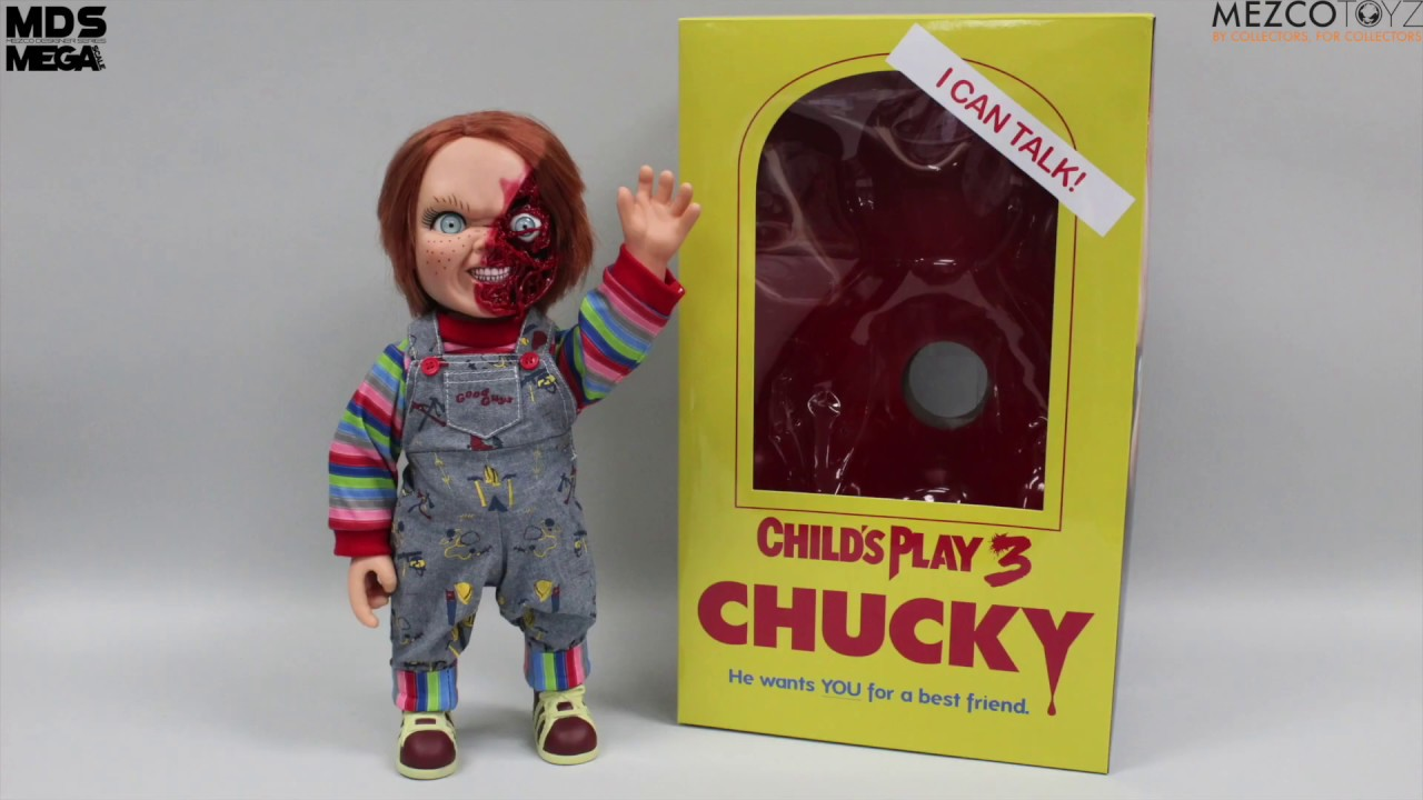 """Talking chucky doll child/'s Play pizza 3 FACE 15/"""" Mega Figure with Sound MEZCO 38 cm"""