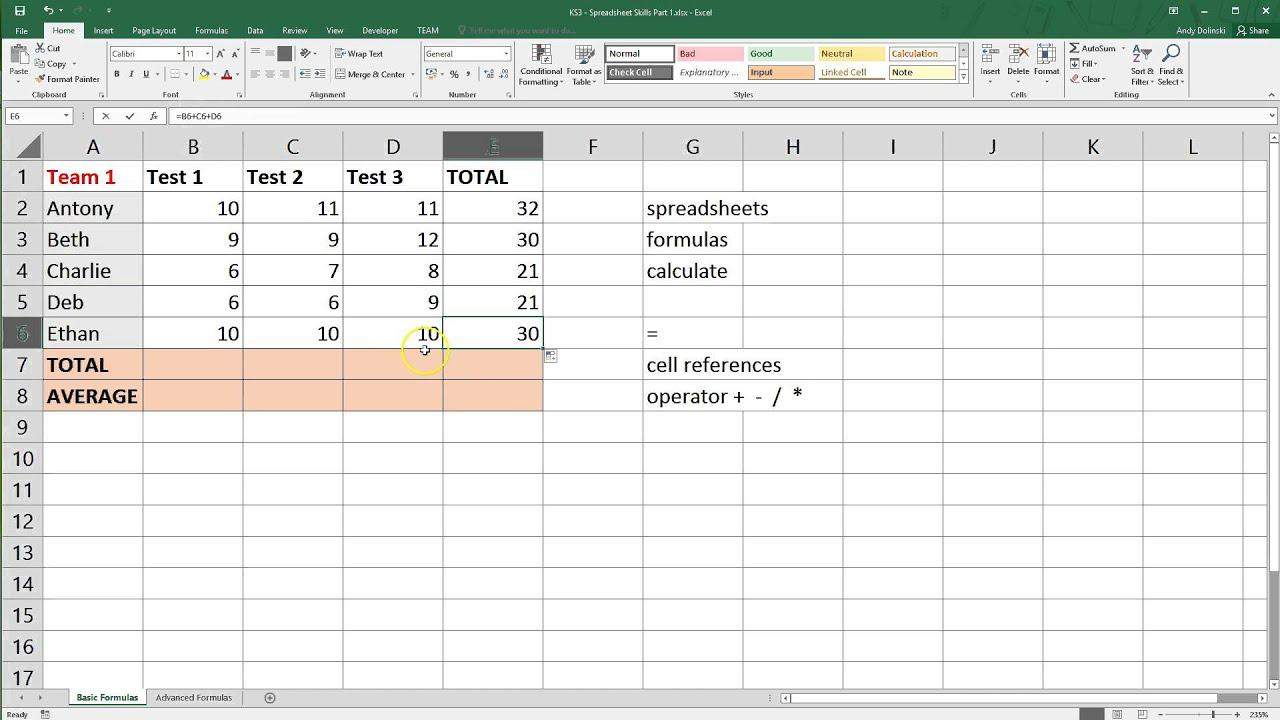 Spreadsheet Basics Microsoft Excel