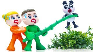 SUPERHERO BABY RESCUES ANIMAL PANDA 💖 Stop Motion Cartoons Animation