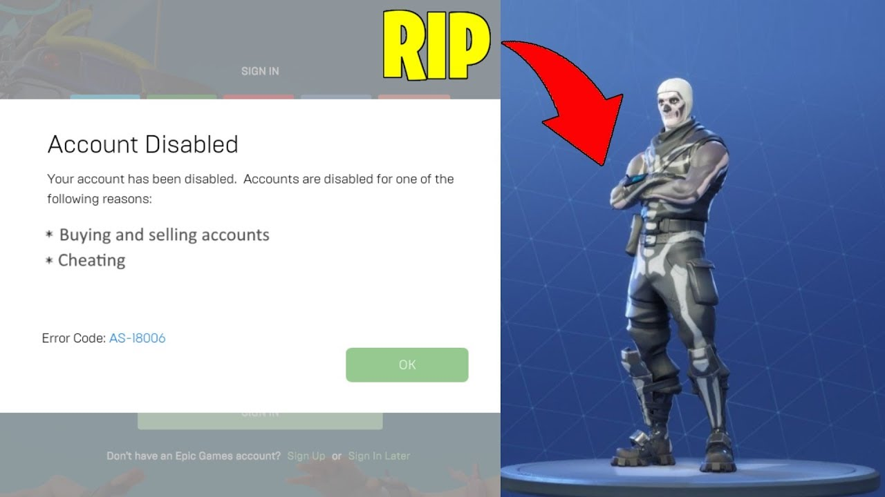i was banned on fortnite rip rare account - picture of getting banned in fortnite