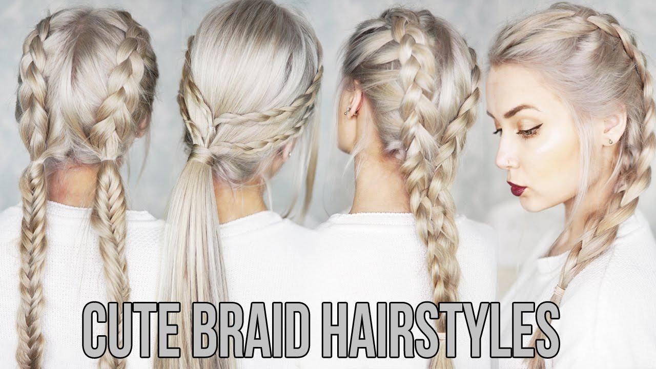 3 CUTE & EASY Braid Hairstyles - YouTube