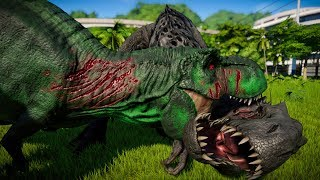 2 Green T-Rex Vs 2 Indominus Rex Vs 2 Giganotosaurus - Jurassic World Evolution