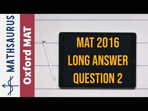 MAT (Oxford Maths) Q2 - Long Answer