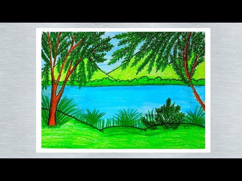 How to draw easy scenery for kids / Landscape scenery drawing with oil pastel color