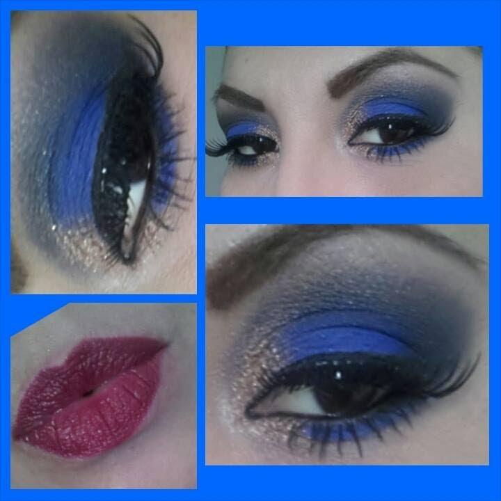 Maquillaje tonos Azul y Dorado de Noche (Peticion)