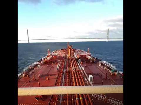 Time lapse Passing Great belt bridge Danish strait