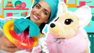 Видео про игрушки и игры с пластилином Плей До. Готовлю игрушкам. Фондан для подружки ЧиЧиЛав!