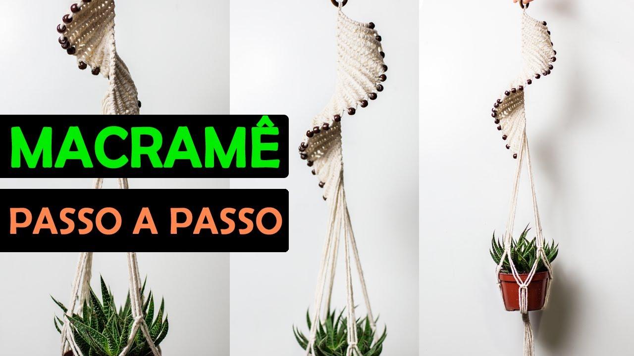 SUPORTE DE PLANTAS EM MACRAMÊ PASSO A PASSO | SUPORTE ESPIRAL | #macrame #macrameparainiciantes