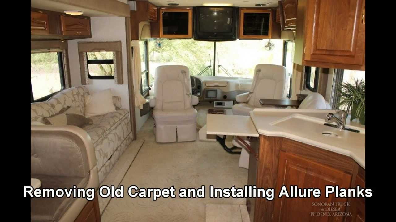 REMOVE OLD RV CARPET  REPLACE with ALLURE PLANKS  Vinyl