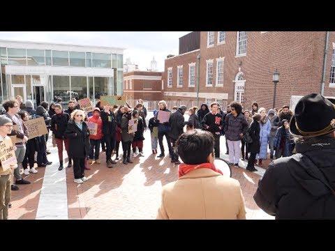 """No Private Police"" Rally at Johns Hopkins"