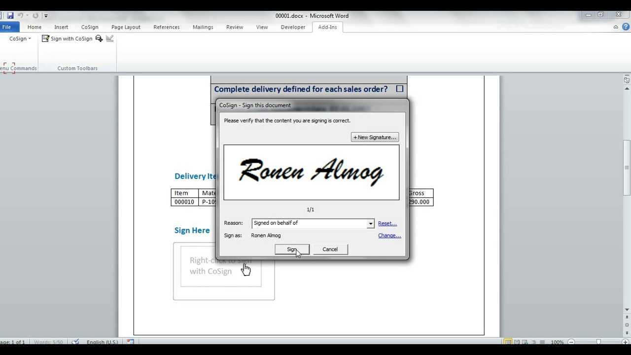 Electronic Signature Free >> Ms-Word Digital Signature in SAP - YouTube