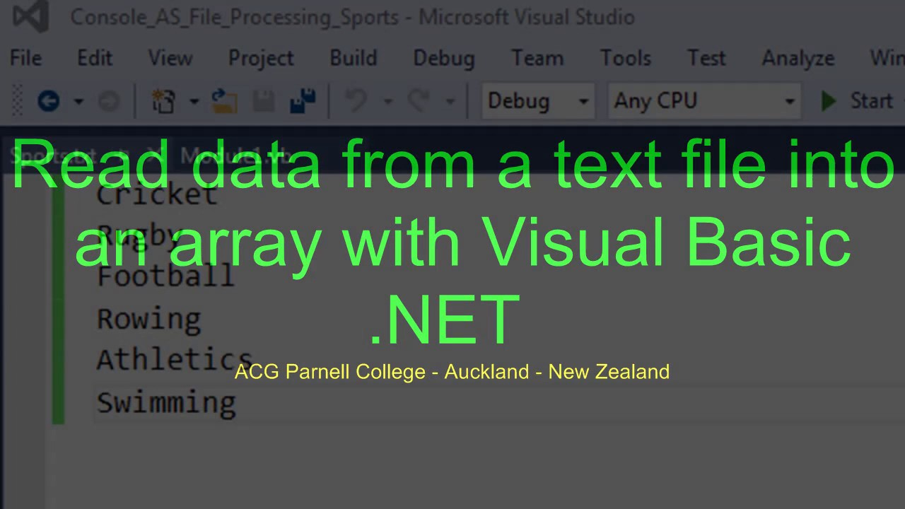 Read data from a text file into an array