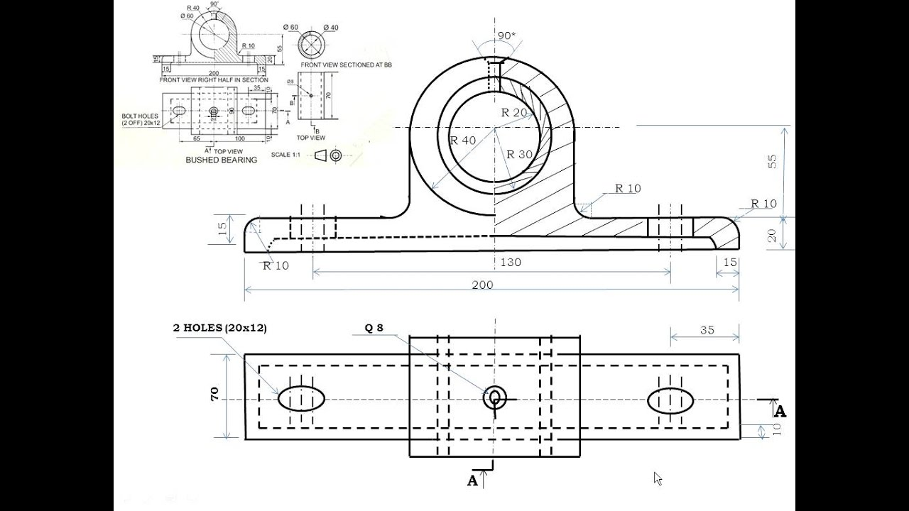 Bearing Puller Assembly Drawing : Cbse class xii engineering graphics bushed bearing