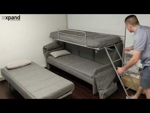 Italian Sofa bunk bed with 3 hidden single beds
