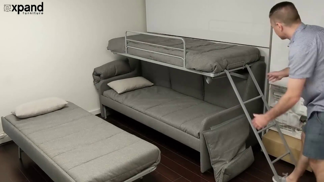Italian Sofa Bunk Bed With 3 Hidden Single Beds Youtube