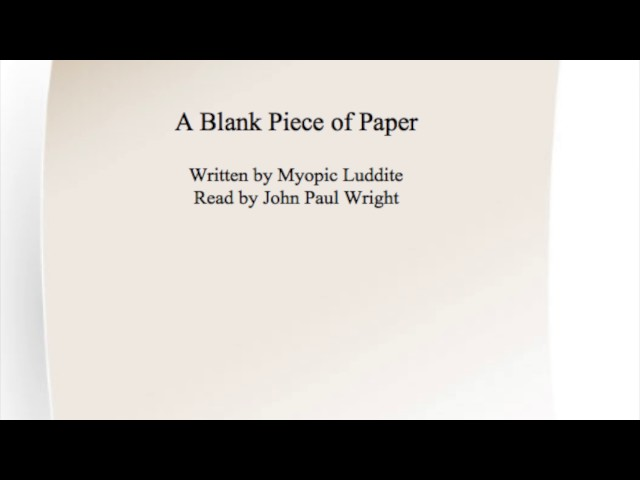a blank piece of paper work in words