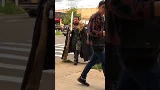 Winy  game of thrones cosplay walking through street