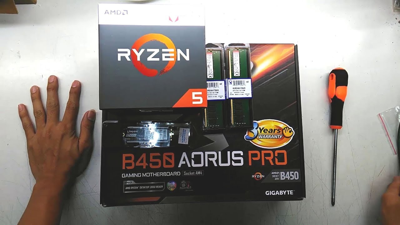 AMD RYZEN 5 2400G GIGABYTE B450 AORUS PRO COOLER MASTER MWE 500 230V