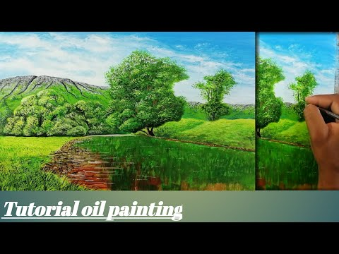 How to paint reflection of tree's on water | Tutorial oil painting step by step | for beginners