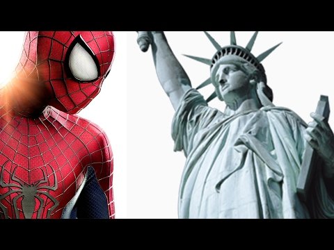 Spiderman crawls on the Statue of Liberty, New York City night
