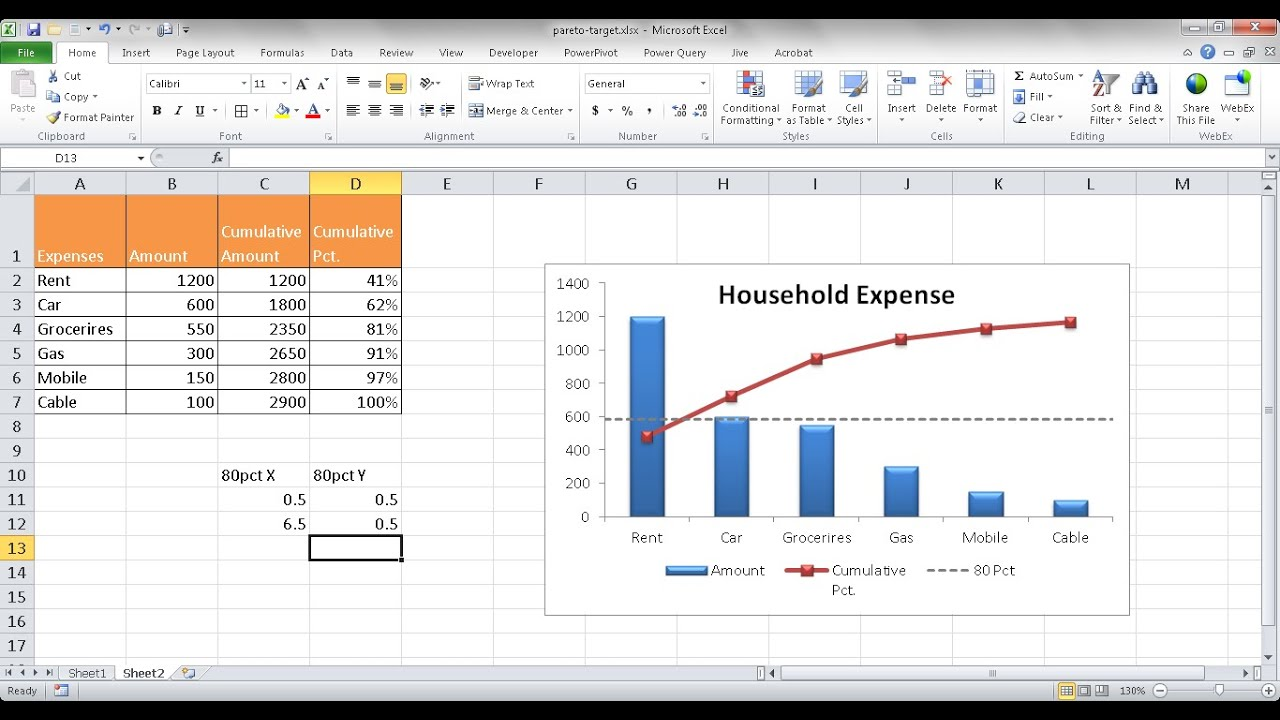 Create a pareto chart with a target line youtube nvjuhfo Choice Image