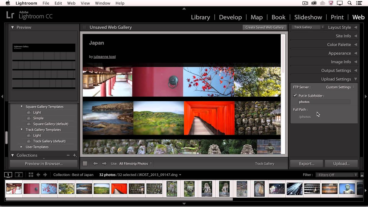 Lightroom CC - Using the Web Module to Create Galleries
