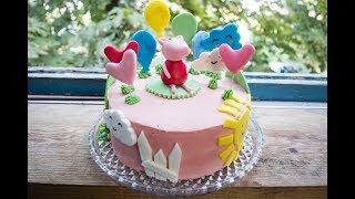 Арахисовый торт Коровка Свинка Пеппа из мастики Сборка и декор торта