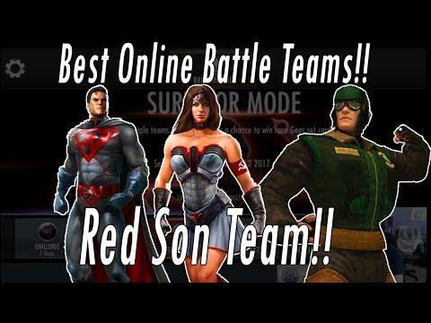 Best Red Son Online Battle Team & Gear! Wonder Woman, Superman Green Lantern Injustice Gods Among Us
