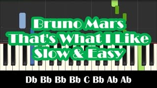 How To Play That's What I Like by Bruno Mars - Slow Easy Piano Tutorial - Notes Mp3
