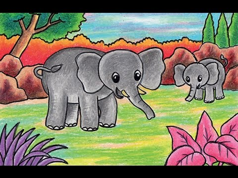 Cara Menggambar Gajah Learn To Draw A Elephant Youtube