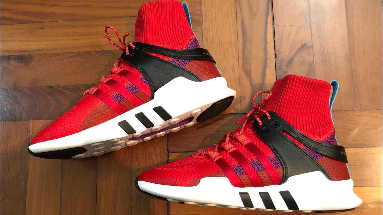 Adidas Originals EQT Equipment Support ADV Winter Scarlet On feet and Up Close Review