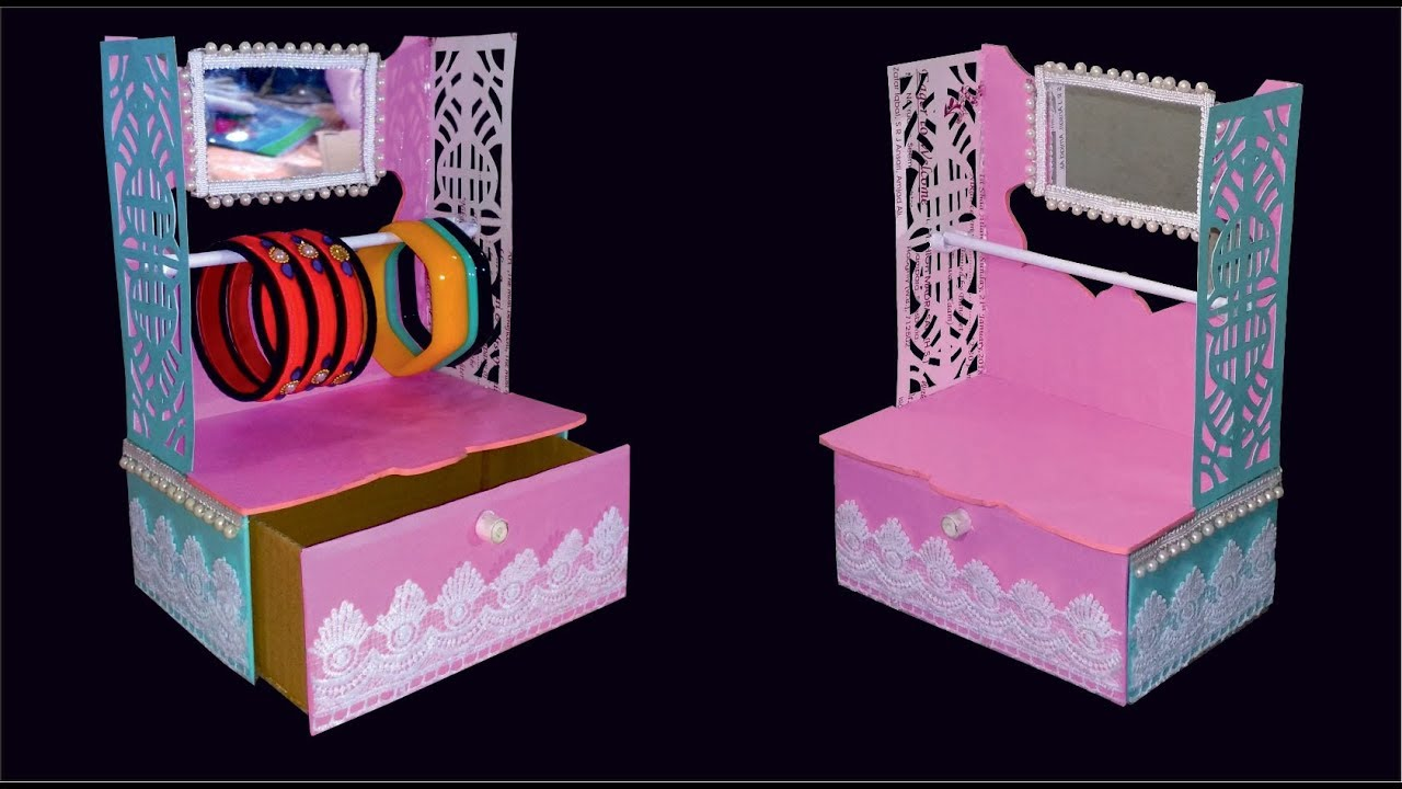 Diy Cardboard Jewelry Box With Mirror How To Make Jewellery Box At Home With Cardboard Youtube