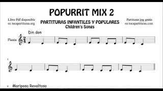 2 de 30 Popurrí Mix Partituras Populares Infantiles de Flauta Dulce Din Don Mariposa ...
