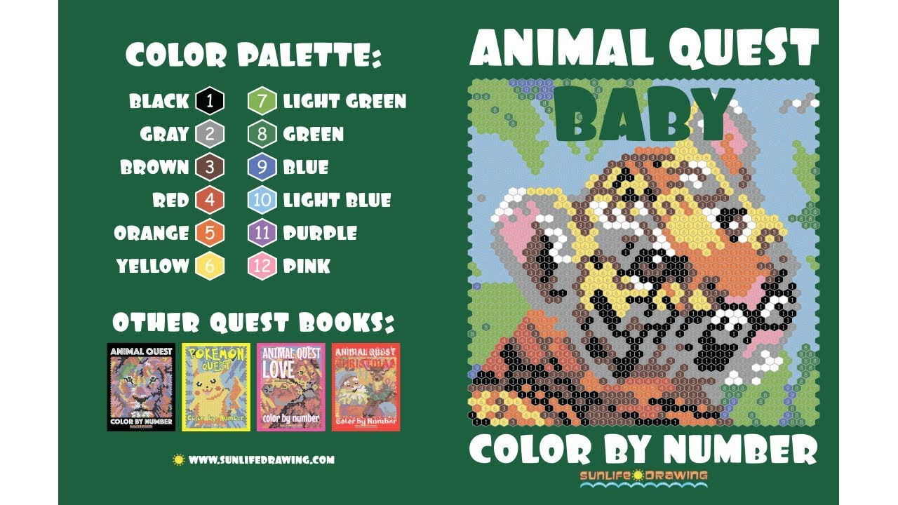 BABY ANIMAL QUEST Color by Number: Activity Puzzle Coloring Book for ...