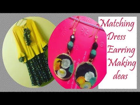 Matching Dress Earring || How to Make at Home || Creative cj || DIY Dangle Earring