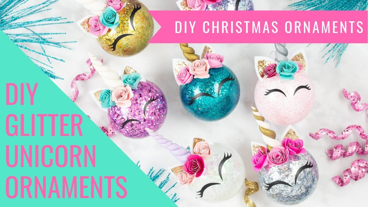 How To Make Glitter Unicorn Christmas Ornaments - YouTube