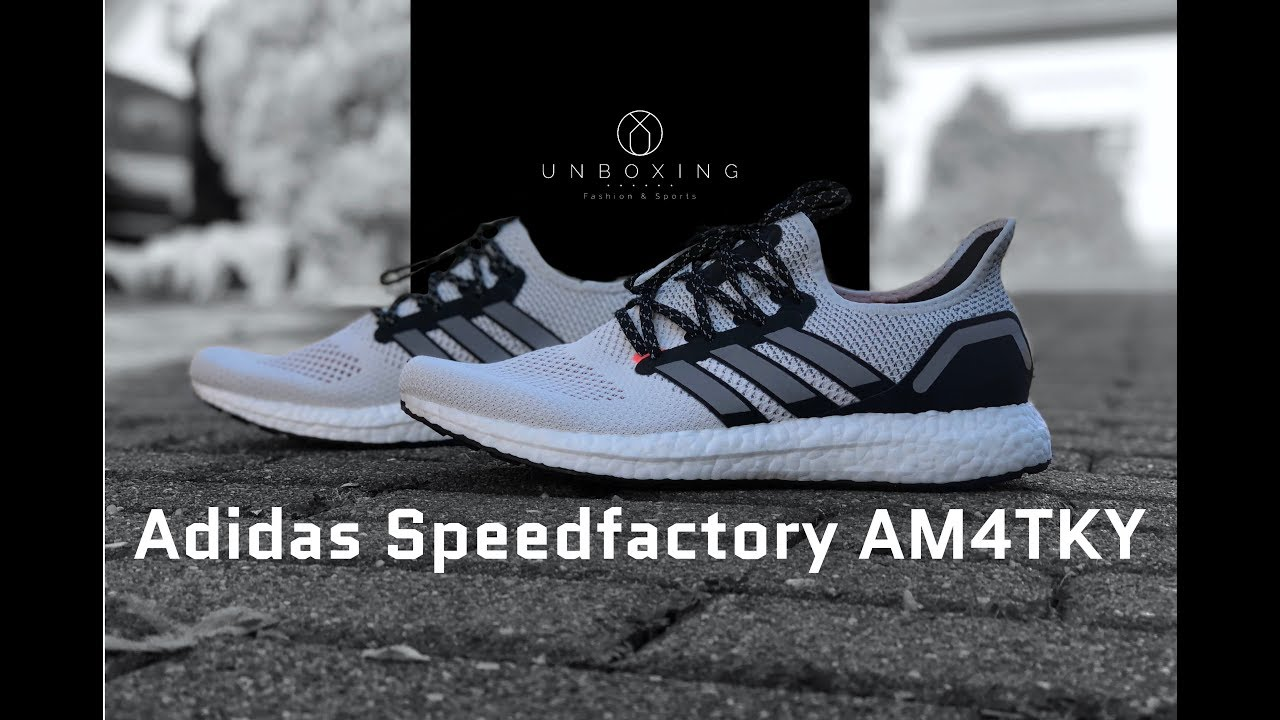 huge discount d1f73 4e0c9 Adidas Speedfactory AM4TKY FtwrwhtCblack  UNBOXING  ON FEET  running  shoes  2018